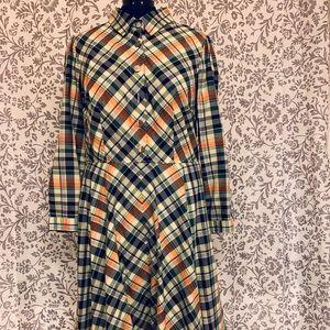 eShakti cotton plaid dress, 18W / 1X, midi length